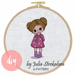 "The cross-stitch pattern with pretty character ""Shyness Girl"". pdf xsd stitching"