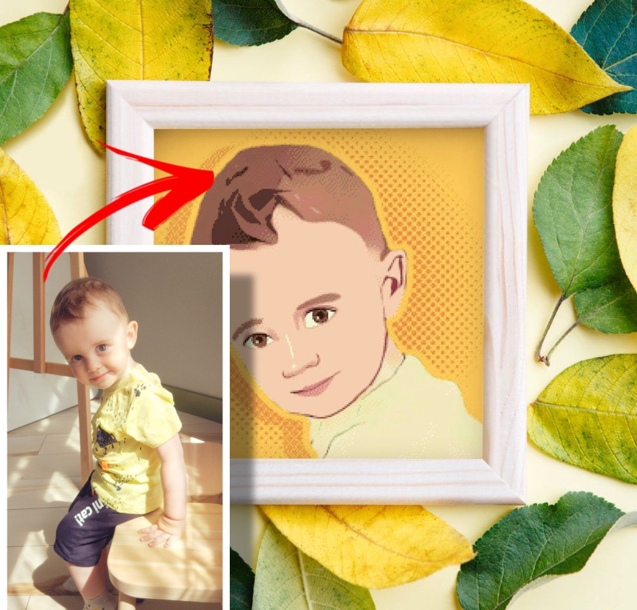 Personalized custom cross-stitch patterns from photo. Unique portraits. Gift idea.