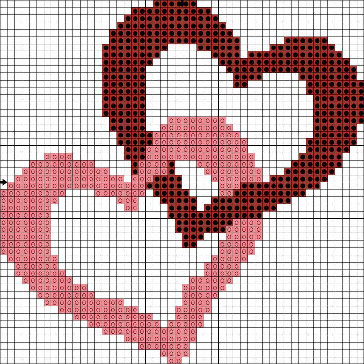 8 free cross-stitch patterns with heart and love for Valentine's Day