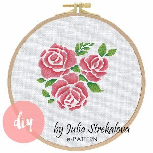 """The cross-stitch pattern with roses """"Beautiful Roses""""."""