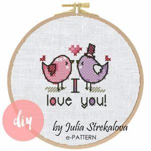 """The cross-stitch pattern """"Birds in love"""" in modern style."""