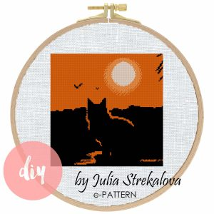 "The cross-stitch pattern ""Cat and Sunset"" in modern style."