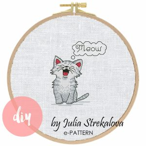 """The cross-stitch pattern with pretty cat """"Tiny Cat Meow""""."""