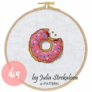 """The cross-stitch pdf and xsd pattern """"Donut"""" in modern style"""