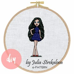 "The cross-stitch pattern with character ""Awesome chick""."