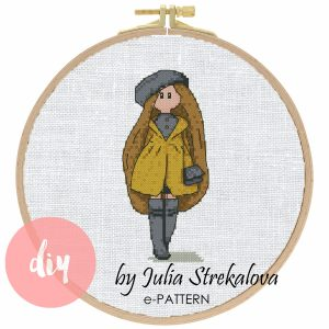 "The cross-stitch pattern with pretty character ""Autumn Doll"""