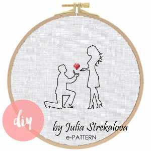 """The cross-stitch pattern """"Marriage Proposal"""" in modern style"""