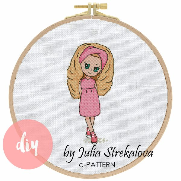 "The cross-stitch pattern with pretty character ""Coquette""."