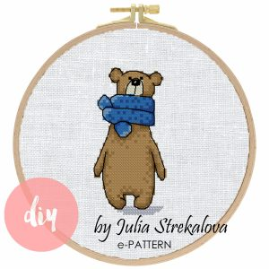 "The cross-stitch pattern with ""Bear in a blue scarf"""