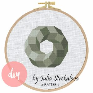 "The cross-stitch pattern ""Grey Geometric Circle"" in modern style."
