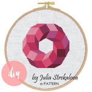 "The cross-stitch pattern ""Pink Geometric Circle"" in modern style."