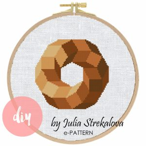 "The cross-stitch pattern ""Brown Geometric Circle"" in modern style."