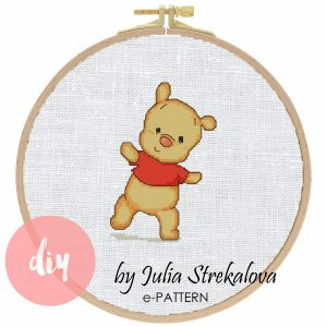"The cross-stitch pattern with pretty funny bear ""Winnie the pooh""."