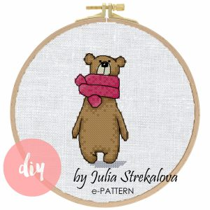"The cross-stitch pattern with ""Bear in a pink scarf"""