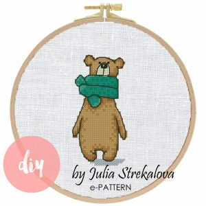 "The cross-stitch pattern with ""Bear in a green scarf"""