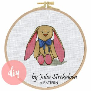 """The cross-stitch pdf and xsd pattern """"Rabbit"""" in modern style for Baby Shower and birth announcement."""