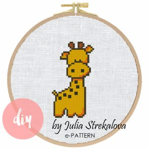 """The cross-stitch pdf and xsd pattern """"Giraffe"""" in modern style for Baby Shower and birth announcement. It can be used for gift or cloth decor. Simple cross-stitch pattern for beginners. It is suitable for hoop art and plastic canvas."""