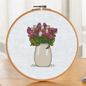 """The cross-stitch pattern with """"Spring Flowers""""."""