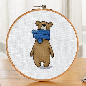 """The cross-stitch pattern with """"Bear in a blue scarf"""""""