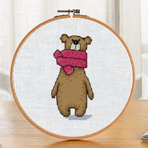 """The cross-stitch pattern with """"Bear in a pink scarf"""""""