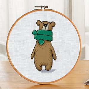 """The cross-stitch pattern with """"Bear in a green scarf"""""""