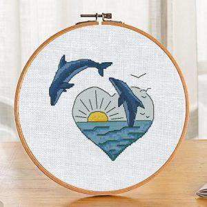 "Small Cross Stitch Printable Pattern ""Dolphins"" Modern Sea"