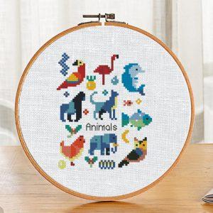 "Cross Stitch Pattern with ""Animals Sampler"" Geometric Modern"