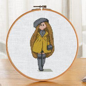 "Cross Stitch Printable PDF Pattern ""Autumn Doll"" on Etsy"