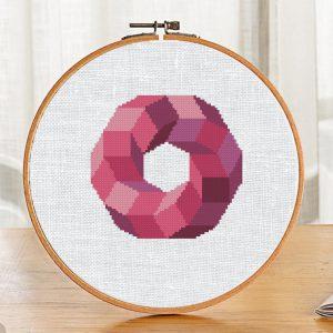 "Easy Cross Stitch Pattern ""Pink Geometric Circle"" Modern"