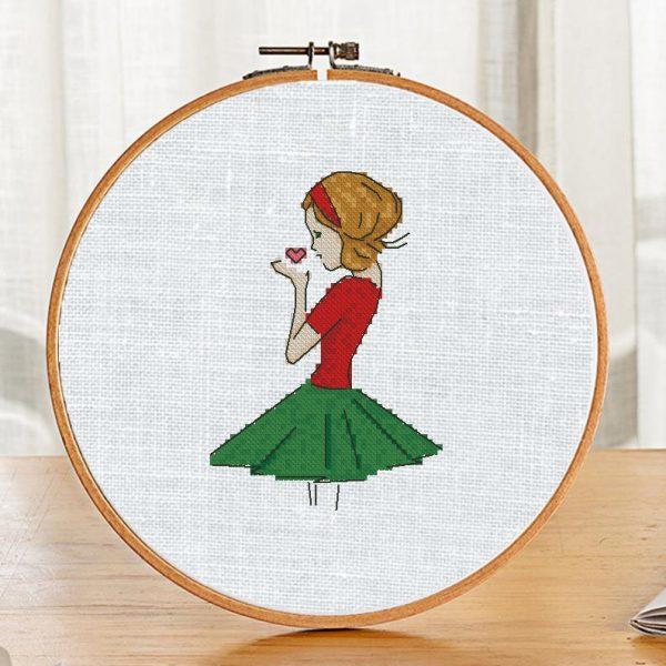 """Small Cross Stitch Printable Pattern """"Beautiful Girl"""" Modern"""