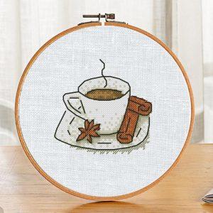 "Small Cross Stitch Pattern ""Coffee Cup"" Modern Printable PDF"