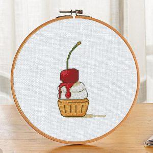 """Small Cross Stitch Pattern """"Cherry Cake"""" Modern PDF Food"""
