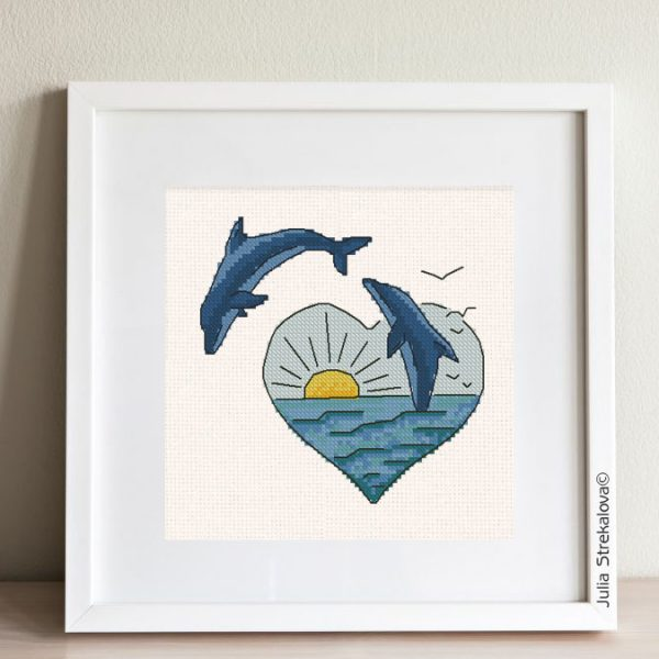 """The free small cross-stitch pattern """"Dolphins"""" in modern style."""