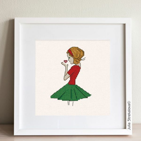 """The free small cross-stitch pattern """"Beautiful Girl"""" in modern style. It can be used for gift or cloth decor. It is also suitable for hoop art. Add any custom text and get a personalized pattern."""