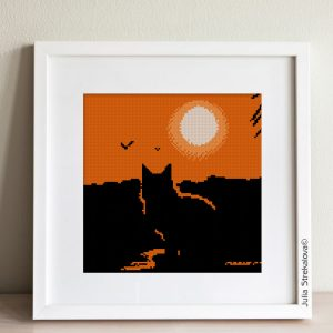 """The cross-stitch pattern """"Cat and Sunset"""" in modern style."""