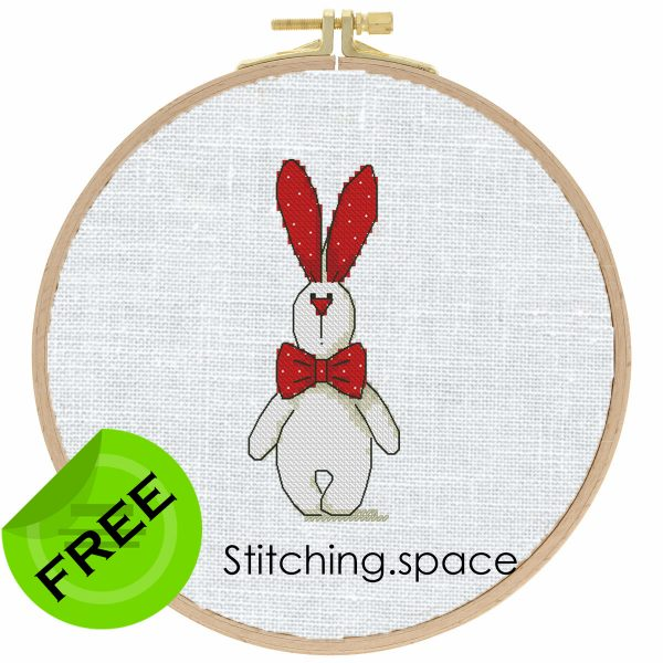 """The free printable pdf cross-stitch pattern """"Rabbit Red White"""" in modern style. It can be used for gift, cloth decor or kids creativity. It is also suitable for hoop art. Add any custom text and get a personalized pattern."""