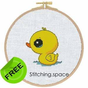 """The free small cross-stitch pattern """"Tiny Duck"""" in modern style for beginners. It can be used for gift, cloth decor or kids creativity. It is also suitable for hoop art. Add any custom text and get a personalized pattern."""