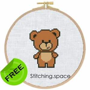 """The free small cross-stitch pattern """"Mini Bear"""" in modern style for beginners."""