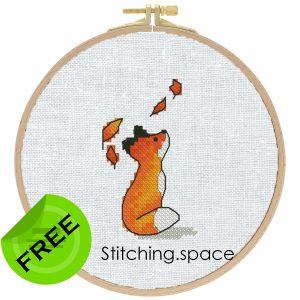 "The free small cross-stitch pattern ""Autumn Fox"" modern"
