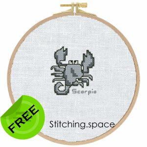 "The free cross-stitch pattern ""Scorpio"" for beginners."