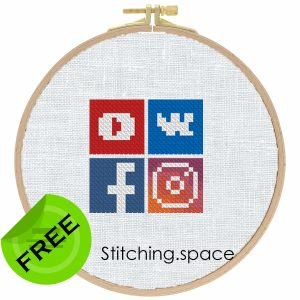"""The free cross-stitch pattern """"Social Icons"""" in modern style."""