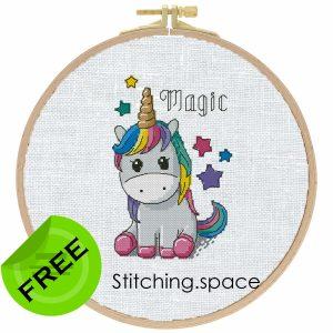 """The free small cross-stitch pattern """"Unicorn"""" modern style"""