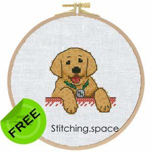 """The free small cross-stitch pattern """"Cute Dog"""" modern style"""