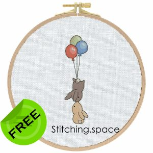 """The free small cross-stitch pattern """"Kiss"""" in modern style for beginners."""