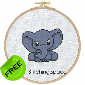 """The free small cross-stitch pattern """"Elephant Baby"""" in modern style for beginners. It can be used for gift, cloth decor or kids creativity. It is also suitable for hoop art. Add any custom text and get a personalized pattern."""