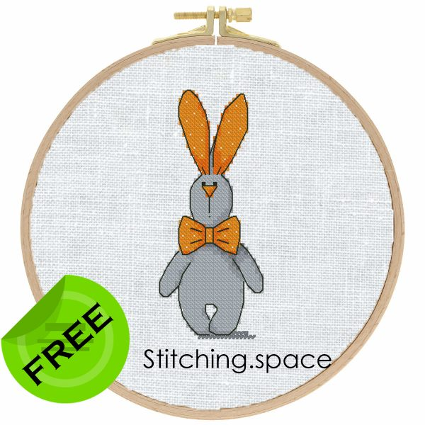 """The free printable pdf cross-stitch pattern """"Rabbit Grey Orange"""" in modern style. It can be used for gift, cloth decor or kids creativity. It is also suitable for hoop art. Add any custom text and get a personalized pattern."""