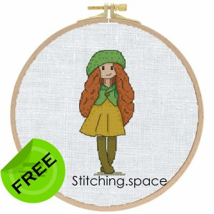 "The free printable pdf cross-stitch pattern ""Jessica Autumn Doll"" in modern style. It can be used for gift or cloth decor. It is also suitable for hoop art. Add any custom text and get a personalized pattern."