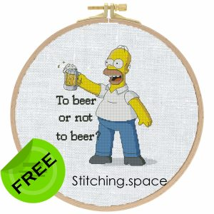 """The free cross-stitch pattern """"Homer Simpson"""" in modern style"""