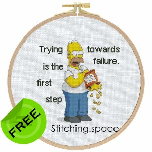 "The free cross-stitch pattern ""Homer Simpson"" in modern style."