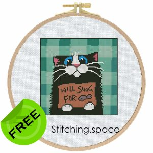 "The free cross-stitch pattern ""Cat panhandler"" in modern style."
